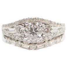 1.49 ctw Diamond Engagement Ring and Wedding Band Set 14k White Gold