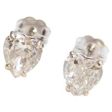 1.50 ctw Diamond HEART Stud Earrings 14k White Gold