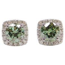1.50 ctw Aegean Sea Green Diamond Halo Stud Earrings 14k White Gold