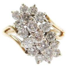 Vintage 14k Gold 1.52 ctw Diamond Waterfall Ring