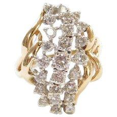 Vintage 14k Gold 1.54 ctw Big Diamond Waterfall Ring