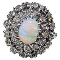 1.54 ctw Natural Opal and Diamond Double Halo Ring 14k White Gold