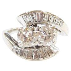Art Deco 14k White Gold Bypass 1.55 ctw Diamond Ring