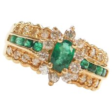 1.56 ctw Natural Emerald and Diamond Halo Ring 14k Gold