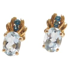 1.58 ctw Aquamarine and Blue Glass Stud Earrings 14k Yellow Gold