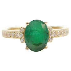 1.59 ctw Natural Emerald and Diamond Ring 14k Yellow Gold