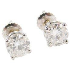 1.60 ctw Diamond Stud Earrings 14k White Gold ~ Screw Posts