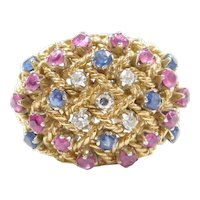 1.62 ctw Natural Sapphire, Ruby and Diamond Dome Ring