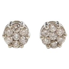 1.68 ctw Diamond Illusion Stud Earrings 10k White Gold ~ Light Chocolate Diamonds