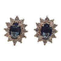 Vintage 14k Gold 1.68 ctw Sapphire and Diamond Stud Earrings