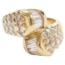 Vintage 14k Gold 1.70 ctw Diamond Bypass Ring