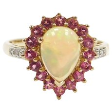 1.70 ctw Opal, Pink Tourmaline and Diamond Halo Ring 10k Gold Two-Tone