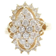 14k Gold 1.73 ctw Diamond Cluster Ring ~ Marquise Shape with Elongated Oval Outline