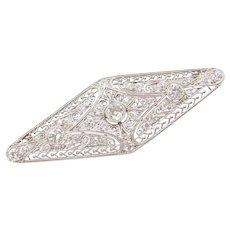 Art Deco 1.74 ctw Diamond Filigree Pin / Brooch Platinum