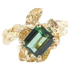 14k Gold 1.75 Carat Chrome Green Tourmaline Leaf Ring