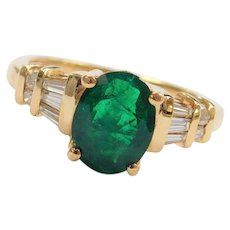 14k Gold Breathtaking 1.77 ctw Natural Emerald and Diamond Ring