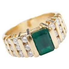 14k Gold 1.78 ctw Lab-Created Emerald and Genuine Diamond Ring