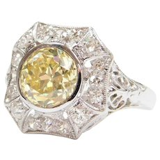 GIA Certified 1.78 Carat Natural Fancy Yellow Diamond Art Deco Engagement Ring 18k White Gold Filigree .30 ctw Accent Diamonds ~ 2.08 ctw