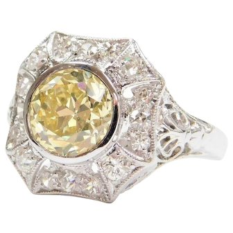 GIA Certified 1.78 Carat Natural Fancy Yellow Diamond Art Deco Engagement Ring 18k White Gold Filigree .30 ctw Accent Diamonds ~ 2.08 ctw