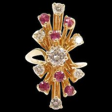 Vintage 14k Gold 1.79 ctw Ruby and Diamond Elongated Ring
