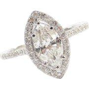 1.11 Carat Marquise Diamond Halo Engagement Ring 1.80 ctw 14k White Gold