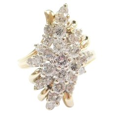 Glittering 1.82 ctw Diamond Waterfall Ring 14k Gold Two-Tone