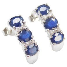 1.84 ctw Natural Sapphire and Diamond Earrings 14k White Gold