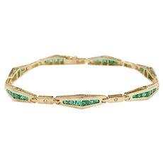 "6 3/4"" 1.89 ctw Natural Emerald and Diamond Bracelet 14k Yellow Gold"