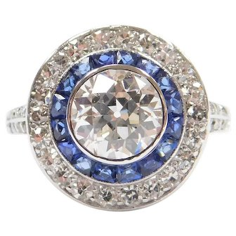 Art Deco 1.93 ctw GIA Certified Diamond and Sapphire Double Halo Calibré Platinum Ring