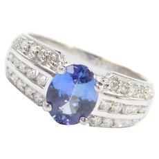1.93 ctw Tanzanite and Diamond Ring 18k White Gold