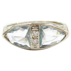 Art Deco 18k White Gold 1.94 ctw Aquamarine and Diamond Ring