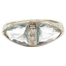 Art Deco 18k White Gold 1.94 ctw Aquamarine and Diamond Ring