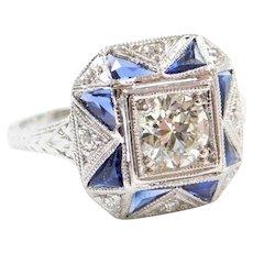 Art Deco Geometric Sapphire and .58 ctw Diamond Platinum Ring
