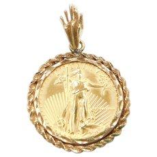 1988 1/4 Eagle 10 Dollar Fine Gold Coin Pendant in 14k Gold Bezel