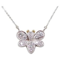 """Custom 14k White Gold .50 ctw Bumble Bee Necklace ~ 17"""""""