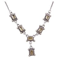 """Sterling Silver Citrine Necklace ~ 17"""""""