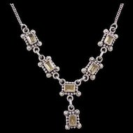 Sterling Silver Citrine Necklace ~ 17""