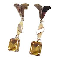 Vintage 20k Gold Long Citrine Earrings