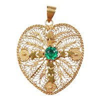 Vintage 20k Gold Big Filigree Heart Charm with Faux Emerald