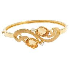 Vintage 21k Gold Citrine and Seed Pearl Freeform Bangle Bracelet