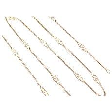 """21 1/2"""" 14k Gold Station Necklace ~ 3.1 Grams"""
