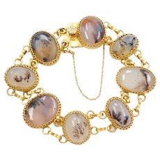 """7 1/2"""" 22k Baht Gold Dendritic Agate Bracelet"""