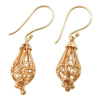 Vintage 22k Baht Gold Dangle Earrings