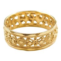 Vintage 22k Baht Gold Decorative Band Ring