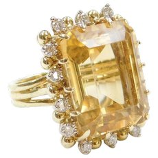 22.89 ctw Big Citrine and Diamond Cocktail Ring 18k Gold