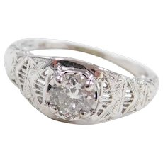Art Deco 18k White Gold .43 Carat Diamond Engagement Ring