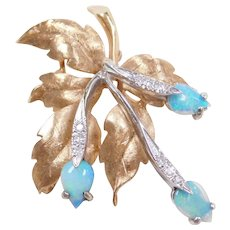 Retro 14k Gold Two-Tone Opal and Diamond Leaf Pin / Brooch