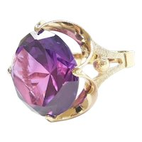 Retro 14k Gold 24.75 Carat Simulated Alexandrite Big Cocktail Ring