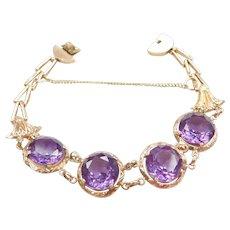 "Retro 7 1/2"" 14k Rose Gold 25.60 ctw Created Alexandrite Bracelet"