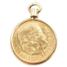 1945 Mexican Gold 2 1/2 Pesos Coin Charm 90% & 14k Gold